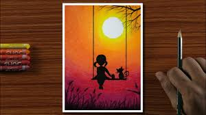 Drawing for Beginners with Oil Pastels - <b>Cute Girl</b> on Swing - Step by ...