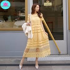 <b>2019 summer new Korean</b> temperament lace collar waist openwork ...