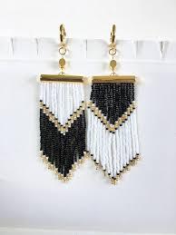 "Beaded earrings ""Black-White Inversion"" Delicate <b>seed</b> beaded ..."
