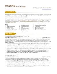 social media marketing resume ron mattockssocial media strategist manager social media marketing resume sample