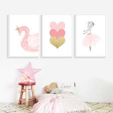 <b>Pink</b> Cartoon Canvas Painting Poster Nordic Baby Poster Print ...