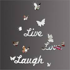 <b>3D Mirror</b> Wall Sticker Live Laugh <b>Love</b> Quote & Butterflies Art ...