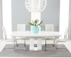 extending white gloss dining table