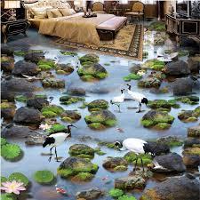 wellyu <b>Custom Floor</b> Trim <b>Painting 3D</b> Stream Water Stones White ...