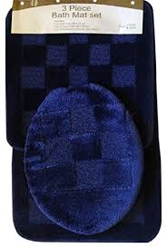 dark navy blue bath rugs:  piece navy pattern bathroom rug mat contour amp lid cover set