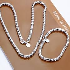 <b>2PCS</b>/<b>Set</b> New <b>Fashion</b> Men 925 Sterling Silver <b>Jewelry Set</b> Silver ...