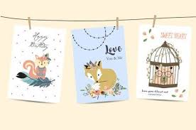 Cute Cards For Banners,Flyers,Placards With <b>Feather</b>, <b>Fox</b>, <b>Bear</b> ...
