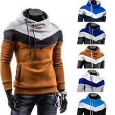 New Autumn Winter Men's Hoodies Contrast Color Slim ... - Vova