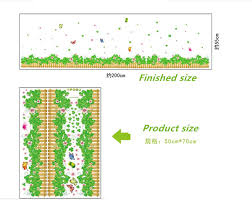 % 3D Fresh <b>green grass flowers</b> butterfly <b>baseboard</b> PVC Wall ...