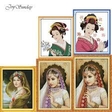 Joy Sunday Oil Painting Girl Cross Stitch <b>Patterns</b> DMC DIY ...