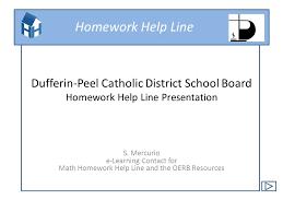 Homework Help Line Dufferin Peel Catholic District School Board
