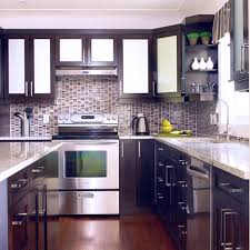 white beach house kitchen with linear glass backsplash tiles awesome black white wood glass