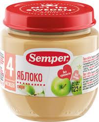 <b>Semper пюре яблоко</b>, с 4 месяцев 125 г — купить в интернет ...