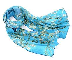 Prettystern Women Blue Silk long Scarf <b>Vincent van Gogh</b> Art ...
