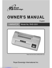 <b>Royal sovereign RHD-2201</b> Manuals | ManualsLib