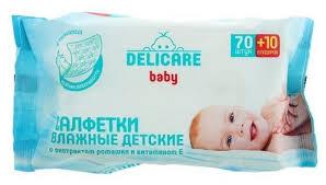 <b>Влажные салфетки Delicare</b> Baby с экстрактом ромашки и ...