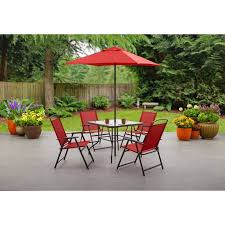 Mainstays Albany Lane <b>6 Piece</b> Outdoor Patio <b>Dining Set</b>, Red ...