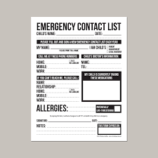 emergency contact form for nanny babysitter or daycare 128270zoom
