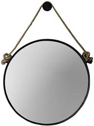 Retro Metal Wall Hanging Mirror with Hemp Rope ... - Amazon.com