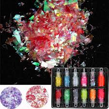 12 Bottle <b>Candy Glass</b> Paper Nail Flakies Holograplic Irregular Nail ...