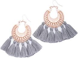 Rose Gold Tassel Earrings: Grey fringe gifts for ... - Amazon.com
