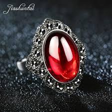 JIASHUNTAI <b>Vintage 925 Sterling Silver</b> Red Garnet Rings For ...
