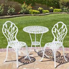 best choice products outdoor patio furniture tulip design cast aluminum bistro set in white amazoncom patio furniture