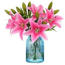Kyrieval <b>5pcs Artificial</b> Flowers, Full Bloom <b>Real Touch</b> Lily Flowers ...