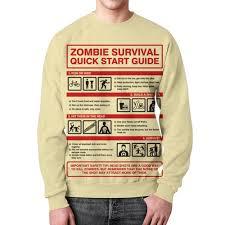 Свитшот мужской с полной запечаткой Зомби апокалипсис ...