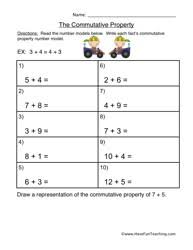 Commutative Property Addition Worksheetcommutative property addition worksheet