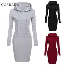2019 Currada 2018 <b>Fashion Hooded Drawstring Fleeces</b> Dresses ...