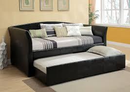 leather king bedroom sets addition delmar black leather like vinyl upholstered day bed with slide out tru