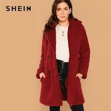 SHEIN Burgundy <b>Casual</b> Solid <b>Notched</b> Pocket <b>Double Button</b> ...