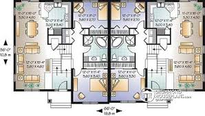 Multi family plan W detail from DrummondHousePlans com    st level Duplex house plan   open floor plan concept  bedrooms and garage for