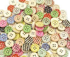 HittecH <b>50Pcs</b> Coffee Cup Mixed <b>Wooden</b> Buttons <b>2 Holes 20mm</b> ...
