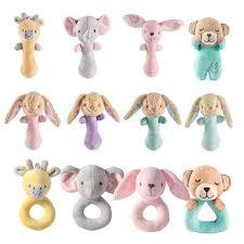 baby rattle newborn cartoon animal hand grip rod toys elephant plush doll 0 12 months