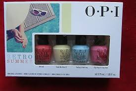 4 pc <b>OPI Retro Summer</b> Mini <b>Nail</b> Polish Lacquer Kit NEW ...