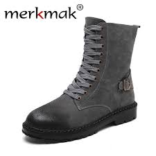 Merkmak <b>Motorcycle Boots Men Genuine</b> Leather Military Winter ...