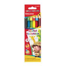 <b>Карандаши цветные утолщенные</b> BRAUBERG, 6 цветов ...