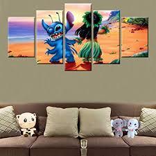 KLKLDD 5 Panel Hd Print Movie Lilo & Stitch ... - Amazon.com