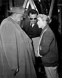behind the scenes touch of evil bfi janet leigh her arm in a sling talks welles and heston