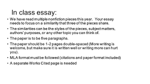 in class essay we have multiple nonfiction pieces this year in class essay we have multiple nonfiction pieces this year