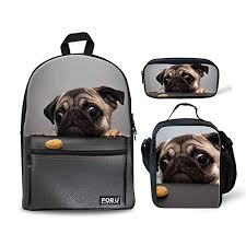 FOR U DESIGNS Canvas Backpack Cute Pugs ... - Amazon.com