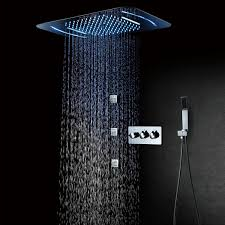 <b>LED Shower Head 580*380mm</b> Waterfall Rainfall Shower Bathroom ...