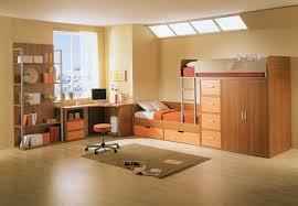 bedroom kid: warm wood color kid bedroom design ideas with buil in loft bed shelving