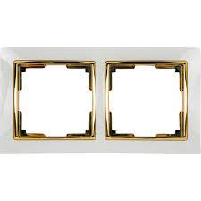 <b>Рамка Werkel Snabb</b>, 2 поста, цвет белый/золото в Кемерове ...