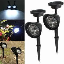 <b>2pcs Garden Solar</b> Power 4 White <b>LED Spotlights Outdoor</b> Lawn ...