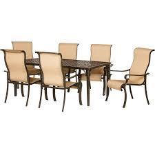 sling patio furniture sets amazoncom hanover odbr pc sl al brigantine  piece outdoor dining set b