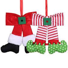 wgg Cute Elf <b>Christmas</b> Cloth Bow Doll <b>Hanging Ornament</b> for Home ...