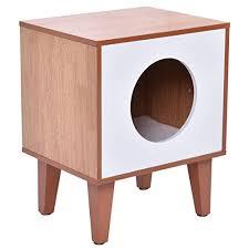 tangkula cat box cushion bed cleaning enclosure hidden pet cabinet furniture wood catbox litter box enclosure